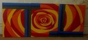 El arte abstracto, 3 panel de arte, los colores brillantes, la lucha.
