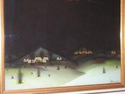Village in a winter night. E. Schroeder