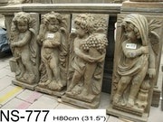 Plaques von vier Putten Saison. Stone Garden Art