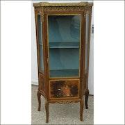 Showcase garnie Napoleon III bronze panel Verni martin..