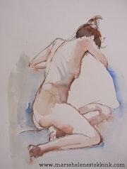 Frau nackt mit Kissen weiß. Marie-Hélène Stokkink