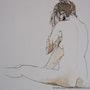 Mujer desnuda sentada en la parte de atrás. Marie-Hélène Stokkink