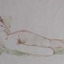 Mujer desnuda con cojín verde. Marie-Hélène Stokkink