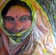 Retrato de mujer india.