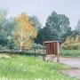 Watercolor Carrelet riverside. Thierry Duval