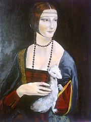 Die Dame mit dem Hermelin nach Leonardo Da Vinci. Laurence Descamps