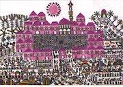 193- A goat race. A Middle Eastern Naive Primitive Folk School Of Art