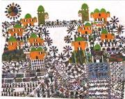 195- Prayer in a village. A Middle Eastern Naive Primitive Folk School Of Art