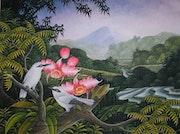 Original Acryl auf Leinwand von iwi Suraba, balinesischen Künstler, Ubud Schule.