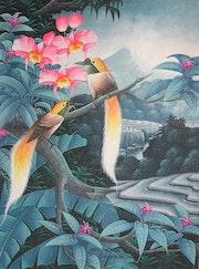 Original Acrylic on Canvas by Iwi Suraba, Bali, Ubud School. Sandikala