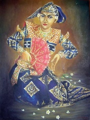 Balinese Dancer Original Oil on Canvas from Bali.