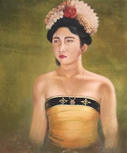 Original Balinese Dancer Signed Acrylic on Canvas, 1997. Sandikala