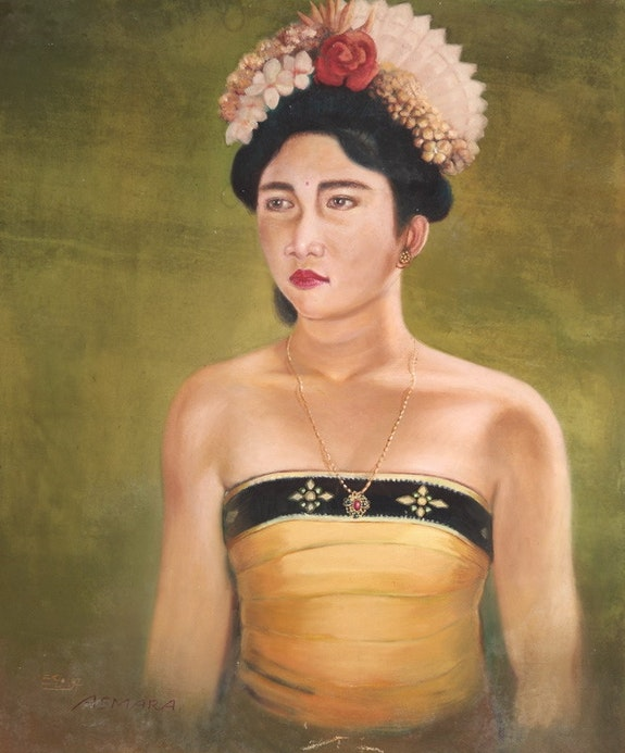 Original Balinese Dancer Signed Acrylic on Canvas, 1997. Asmara Sandikala