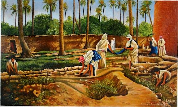 Szene Familie in einer Oase. Filah Abdelmalek Abdelmalek Filah