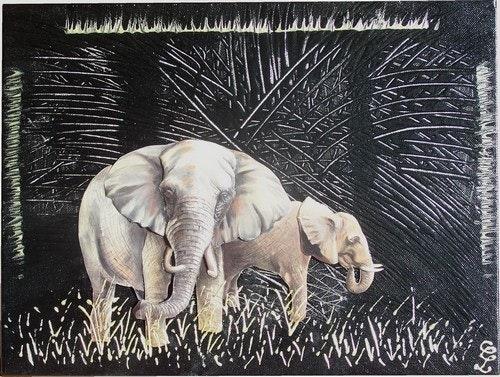 Eléphants 3 D-Tableau Déco. Cocrea Corinne Leboeuf