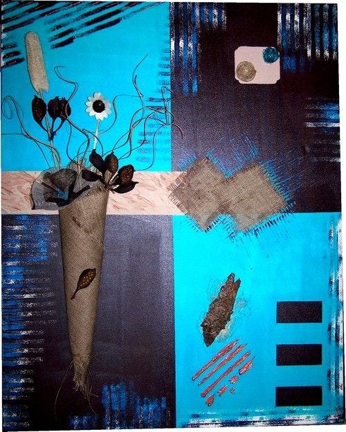 Fleurs choco/turquoise. Cocrea Corinne Leboeuf
