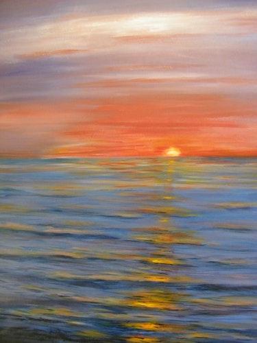 Sonnenuntergang über dem Meer. Jacquie