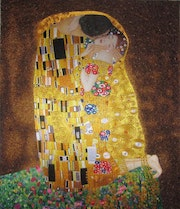 The Kiss handmade silk embroidery art painting.