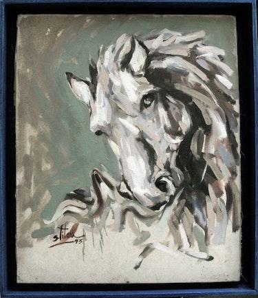 Portrait eines Pferdes im Jahr 1994. Artitou