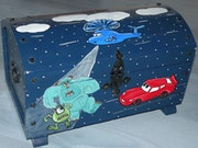 """Pirate Toy Box Wood """"Cars and Friends"""" Creating Painter ."""