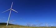 Wind backdrop of deep blue sky.