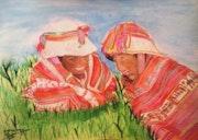 Laughter between sisters Peruvian.