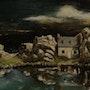 Castel Meur, das kleine Haus zwischen den Felsen in der Nacht. Theopeinture