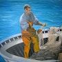 El pescador de langostinos. Antiguedades-Gonzalez-Emilien.com