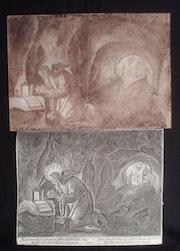 Hermit des Hohen Mittelalters im Gebet in seiner Höhle. Lavis Flämisch.. Historien d'art, Archéologue; Chercheur Free-L.