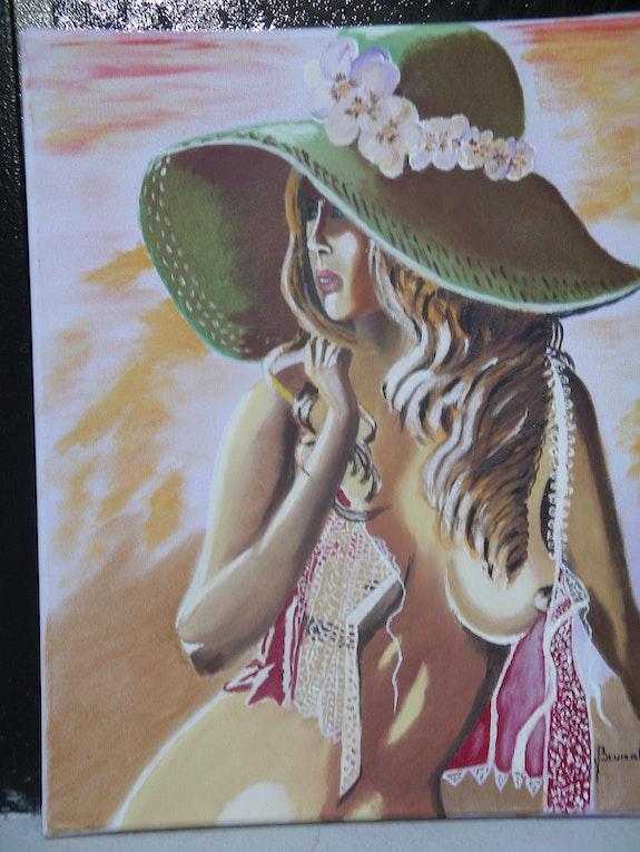 Die Dame mit dem Hut. Brunat Daniel Artiste Peintre Amateur