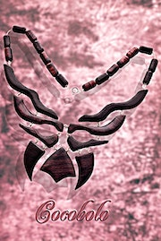 Cocobolo Wood Necklace «The Mask». Jewelsinwood.Com