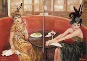 En el café. Floria Otis-Rosimiro