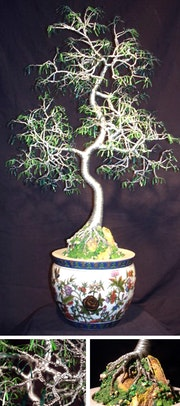Oriental bonsai, wire tree sculpture.