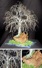 Bonsai island No. 2, Wire & beaded tree sculpture.