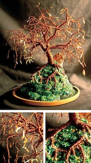 Copper island, wire tree sculpture.