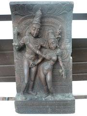 Escultura Antigua de Shiva y Parvati, palo de rosa. Monique Deleu Laroy