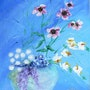 Fleurs et tulle bleus. Françoise Deléglise
