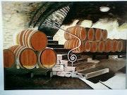 Weinkeller, Fässer, Öl-Malerei.. Courtero