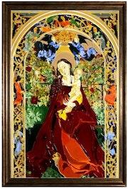 La vierge au Buisson de Roses. Atelier de vitraux et tableaux en vitrail d'art