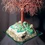 Mystical Island, Beaded sculpture en fil métallique arbre. Tree Sculpture By Sal Villano