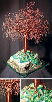 Mystical Island, Beaded wire tree sculpture.