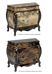 Comoda gold leaf lacquered Louis XV style hand-drawn Eastern. Boyd Baten