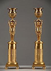 Une paire de bougeoirs. Galerie Atena Antiquités