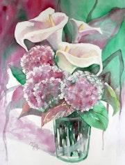 Arum lilies and hydrangeas.