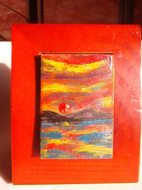 Red Sun auf den Inseln. Richi Richi :Matches Boxes Art Gallery Collection