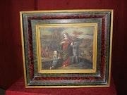 Oleo sobre cobre (santa barbara y felipe ii). Javier Rojo Herrero