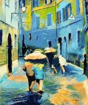 Alley en la lluvia.