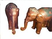 Grands elephants decoratifs en bois de rose 1 metre 18.