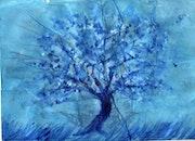 Baum blauen Blumen. Martine Ravignon