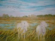 Caballos en la Camarga, al final del día - óleo sobre lienzo (80 x60).